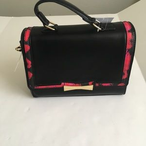 Betsey Johnson Black/Leopard Satchel Handbag